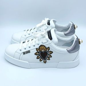 Dolce & Gabbana Shoes - DOLCE & GABBANA Men's White Leather Heart Sneakers